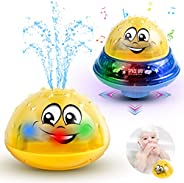 Baby Bath Toys Light Up Bathtub Toys 2 in 1 Automatic Induction Water Spray Toy & Space UFO Car Toys with