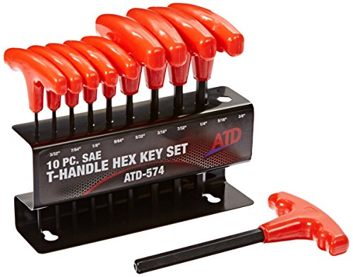 - ATD Tools (574 10-Piece SAE T-Handle Hex Key Set