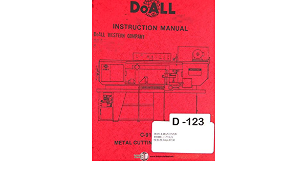 DoALL C-916A Metal Bandsaw Instruction Manual #1739