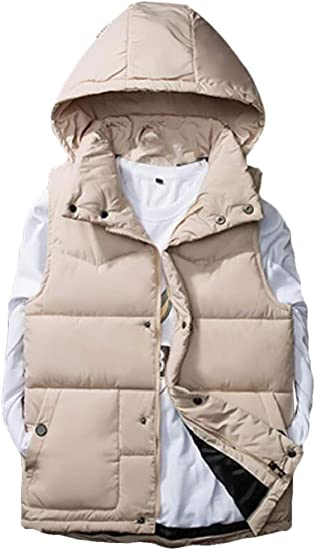Etecredpow Men Hooded Quilted Fashion Sleeveless Zip Padded Jacket Down Vest