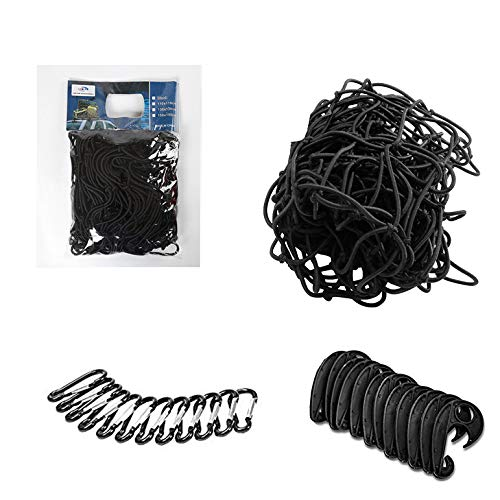 for Pickup Truck Bed and SUV Rooftop Travel Luggage Rack etc 5x5 to 10x10 Truck Bed Cargo Net Heavy Duty Truck Bed Bungee Cargo Nets with 12 Tangle-Free D Clip Carabiners,12 Nylon Hooks 5mm Cord