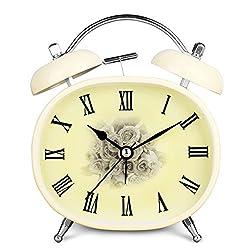 HENSE Retro Vintage Twin Bell Alarm Clock, Mute Silent Quartz Movement Roman Numerals Analog Dial, Ideal For Bedroom / Desk / Nightstand, Nightlight Alarm Clock HA04 (#A with rose pattern)