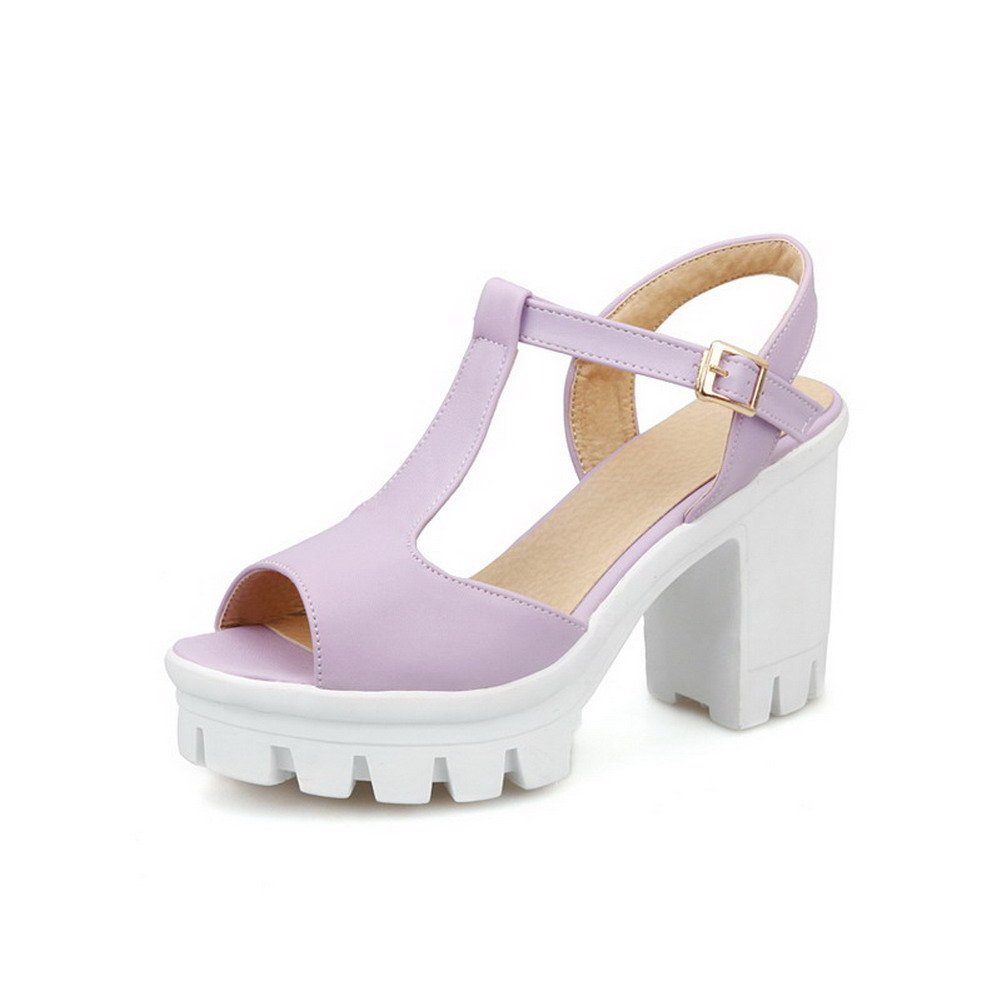 AllhqFashion Women's Buckle Peep Toe High-Heels PU Solid Heeled-Sandals, Purple, 37