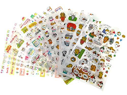 Scrapbook Topper Stickers - ALIMITOPIA Scrapbook Sticker,12 Sheets Kawaii Cartoon Cat Charactor DIY Transparent Decorative Paster Ornament Mark