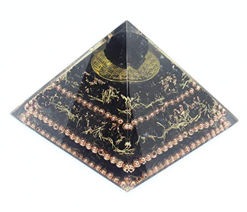 - Flower of Life Black Tourmaline Copper Orgone Healing Pyramid for Balance Stress Inner Psychic Meditation
