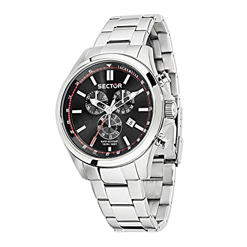 SECTOR Men's 180 Analog-Quartz Sport Watch with Stainless-Steel Strap, Silver, 18 (Model: R3273690008