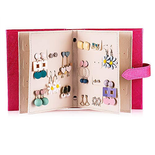 Csinos Organizer, Portable Travel Jewelry Case Pu Leather Earring Holder with Book Design (Fuchsia), Medium
