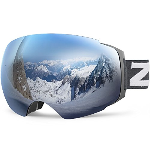 ZIONOR Lagopus X4 Ski Snowboard Goggles Anti fog Magnet Lens swapping Tech 100% UV400 Protection Smooth Air flow Panoramic View Adjustable Strap for Skiing Snowboarding Unisex
