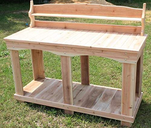 (Potting Table-Potting Benches for Outside- Cedar Colored Western Red Cedar Wood 58