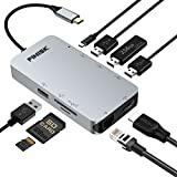 USB C Hub, USB C Adapter 3.1 with Type C Charging Port, 4K HDMI Output, SD & TF Card Reader, 4 USB 3.0 Ports, 1000M Ethernet Port, for MacBook Pro 2015/2016, Chromebook 2016/2017 & more USB C Devices