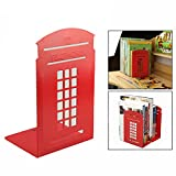 OFKP One Pair Vintage Telephone Booth Bookend Book Organizer For Library School Office Desk Study Home Decoration Gift (Red)