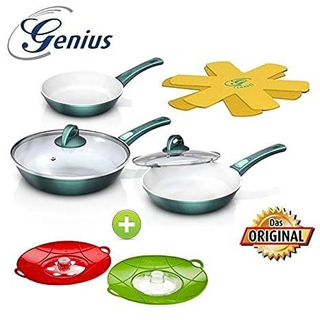 Zócalo Genius DIS1 Cerafit Fusion Juego de sartenes (7 piezas color verde esmeralda + Genius