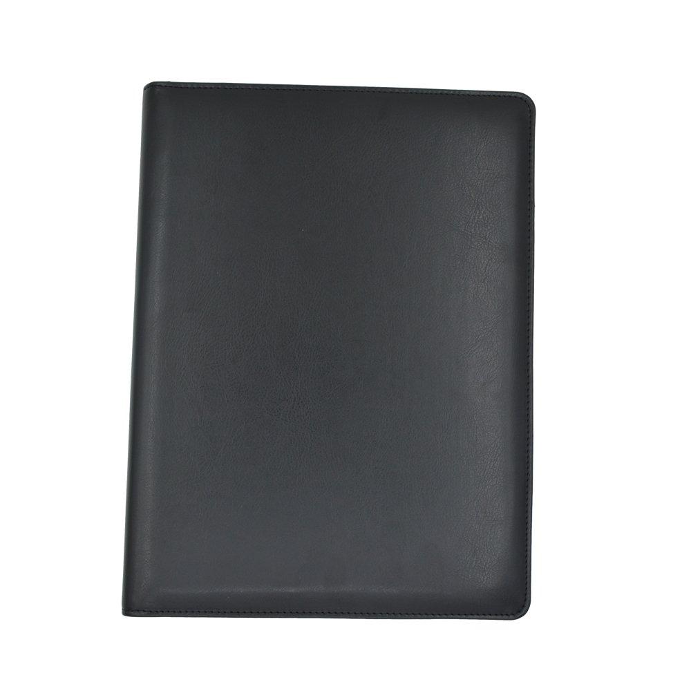 Chanyi Shiny Leather Writing Portfolio, Writing Pad, Presentation Folder, Business Case with Inserted Note Pad and Folder for Bonded Leather Padfolio (Black)