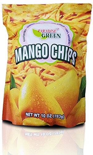 Paradise Green Mango Chips 10 ounce, No Added Sugar, Sweet and Tangy, Unsweetened, Non - Potato Green