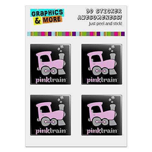 Resin Train Set (Graphics and More Pink Train Engine Steam Locomotive Logo Computer Case Modding Badge Emblem Resin-Topped 1