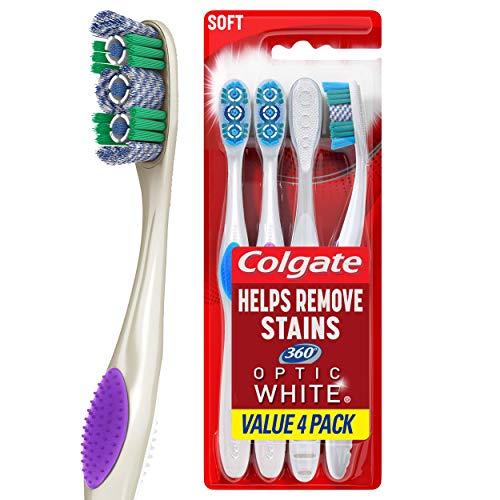 Colgate 360 Optic White Whitening Toothbrush, Soft – 4 Count