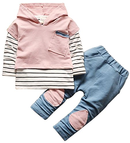 Kids Baby Boys Girls Clothing Set Striped Hoodie Sweatshirt Tops Pants Outfits Size 6-12Months/Tag80 (Pink)
