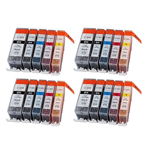 YATUNINK 20PK New Compatible Ink Cartridge for Canon PGI-220 CLI-221 PGI220 CLI221 Replacement for Canon PIXMA IP3600 IP4600 MP620 MP980 MX860 MP560 IP4700 MP640 ECT