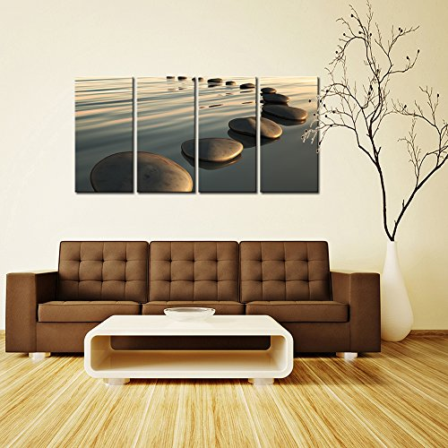 Live Art Decor - Large Zen Canvas Wall Art Basalt Stone at Sunset Relax Picture Spa Living Room Office Wall Decor Peaceful Scenery Artwork Framed Ready to Hang- 64''W x 32''H overall by Live Art Decor (Image #2)
