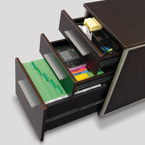 at Work Mobile File Pedestal Warm Ash Laminate/Brushed Nickel Handles