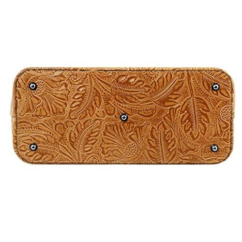 Tuscany Leather Gaia Borsa shopper in pelle stampa floreale - TL141670 (Grigio) Cognac