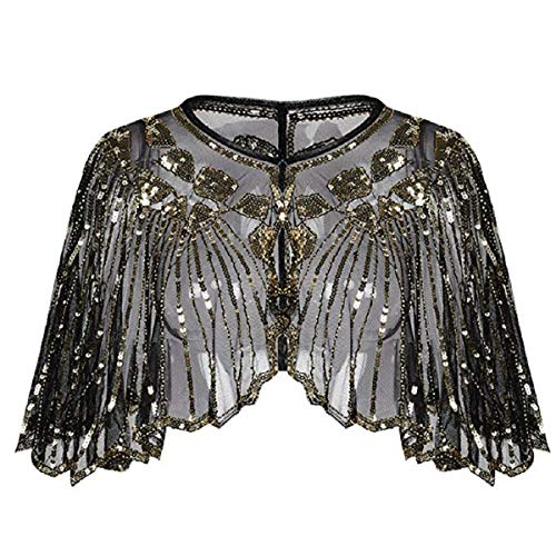Wintialy Women's 1920s Shawl Beaded Sequin Deco Evening Cape Bolero Flapper Cover up Gold