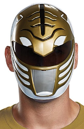 Disguise Men's White Ranger Adult Mask, One Size -