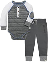 Burt's Bees Baby Boys' Long Sleeve Organic Bodysuit and Cuff Pant