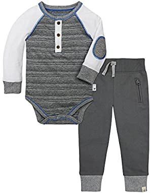Baby Boys' Long Sleeve Organic Bodysuit and Cuff Pant