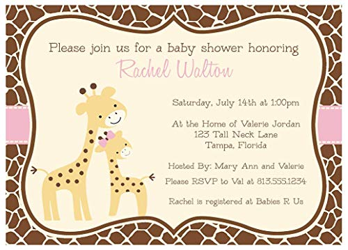 Giraffe Baby Shower Invitations Giraffe Print Sprinkle Invites Safari Jungle Zoo Animals Girls It s A Girl Brown Orange Pink Gentle Giraffes Customize 10 Count