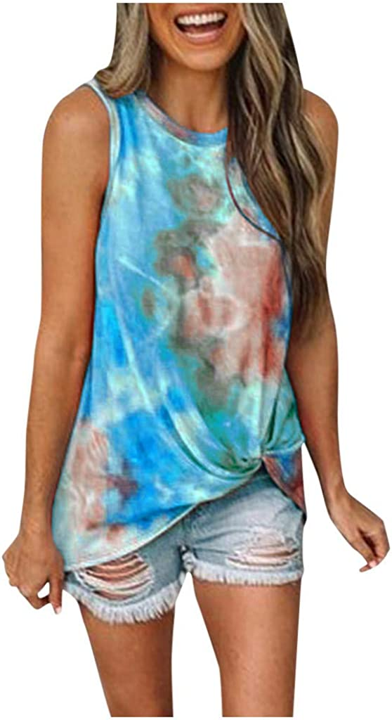 Vedolay Womens Tank Tops Women Round Neck Gradient Printed Sleeveless Summer Loose Fit Vest Tunic Camisoles Shirts Blouses