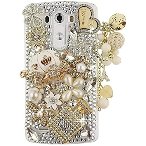 Galaxy S7 Crystal Rhinestone Case,Max-B LV Galaxy S7 Luxury Bling Diamond Crystal Pumpkin Car Pendant Transparent Clear Phone Case Cover For Samsung Galaxy Sales