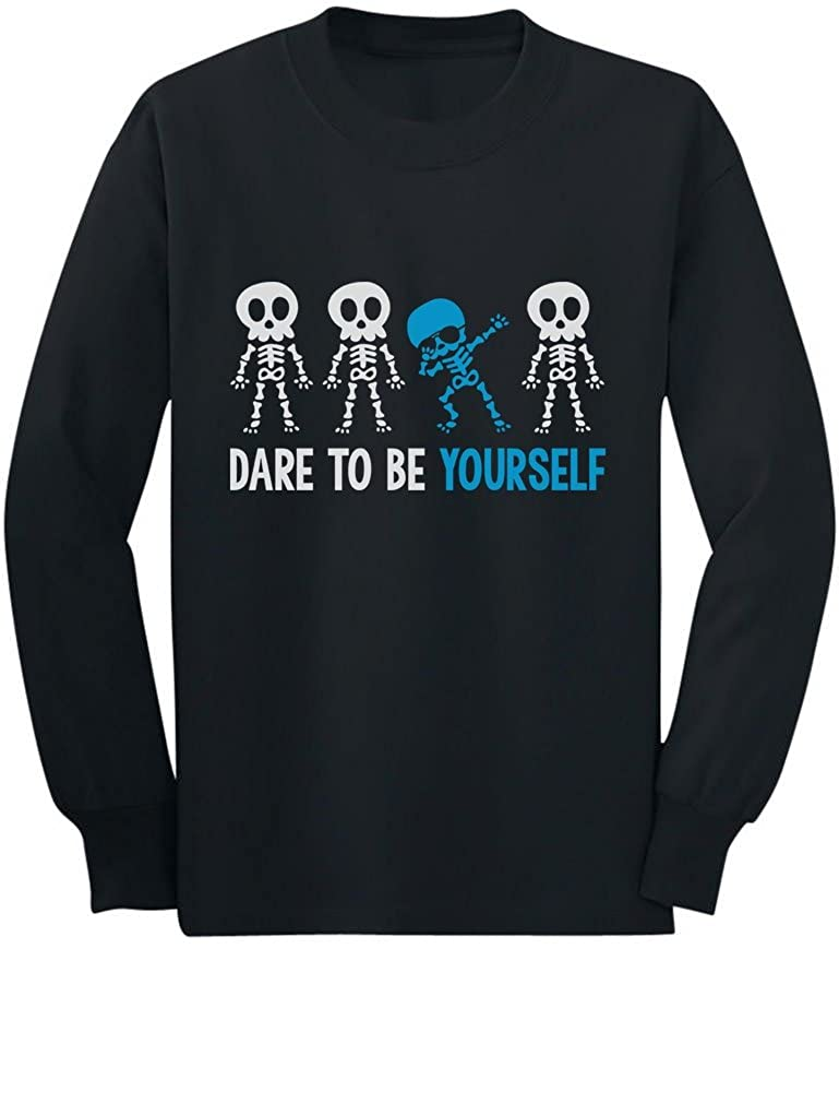 Autism Awareness Be Yourself Skeleton Dab Toddler/Kids Long sleeve T-Shirt GZallthgC5
