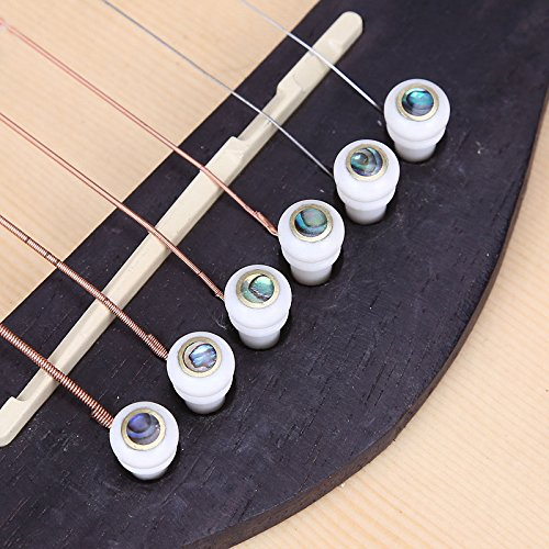Colored Acoustic Guitar Bridge Pins - Cow bones Folk Acoustic Guitar Endpin Bridge Pins End String Pegs Pins for Taylor Martin Guitar Replacement (white)