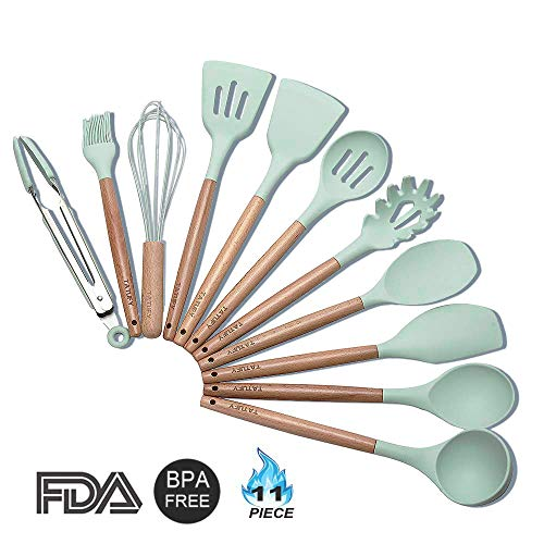 Cooking Utensils Set 11 Piece Kitchen Utensil,Tatufy Silicone and Natural Wooden Utensils for Nonstick Cookware Non Toxic Turner Tongs Spatula Spoon Set Best Chef Kitchen Tool Set And Gifts