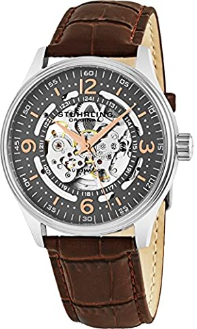 Stuhrling Original Delphi Automatic Watch - Grey Skeleton Dial Wrist Watch for Men - Stainless Steel Brown Leather Analog Watch (Brown Leather Geneva Watch)