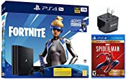 PlayStation 4 Pro 1TB Euro Version+ Fortnite Deluxe Bundle , Marvel spider-man game of the year US Edition, w/