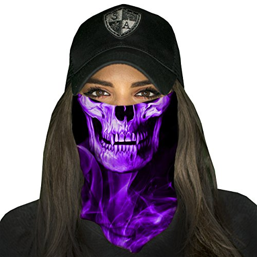 1 Face Shield SKULL TECH | PURPLE CROW Face Shield, SA Face Shield for Men and Face Shield for Women – UV Face -