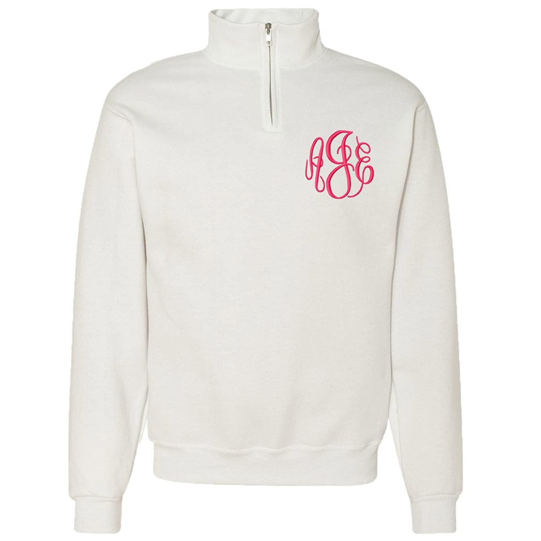 Monogrammed White Quarter Zip Pullover Personalized Sweatshirts Unisex