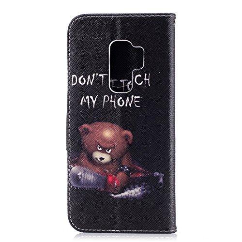 protection étui Samsung fermeture Bear PU en de magnétique Flip conception Hozor pour Plus S9 carte support portefeuille avec avec fente peint d'impression Galaxy cas cuir aérosol en fRapC