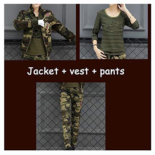 HEYEJET Sailors Dance Costumes Women39;s Camouflage Three-Piece Military Uniform Military Fan Slim Thin Lycra Student Set -