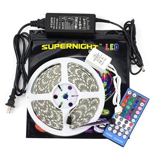 SUPERNIGHT 16.4ft 300 Leds RGBW 5050 SMD LED Strip Light RGB+Warm White Multi-color Changing Waterproof + 40 Keys RGBW LED Remote Controller + 12V 5A Power Supply