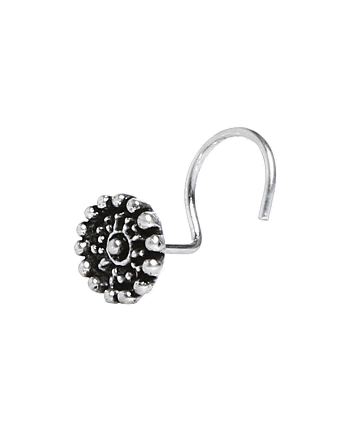 Nose Ring for women Bollywood Oxidized Silver Plated Nose Pin Nose Clip