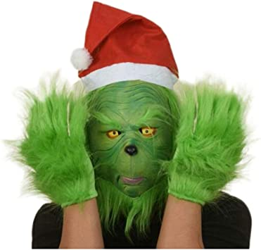 LoneFox El Traje de Grinch Santa máscara de Goma Guantes de Felpa ...