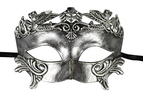 [KAYSO INC Roman Gladiator Men's Venetian Masquerade Mask, Rustic Silver] (Swan Princess Costume)