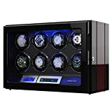 Watches : Watch Winder, Wooden Finish with Adjustable [Upgraded] Watch Pillows, 8 Winding Spaces Watch Winders for Automatic Watches, Built-in Illumination
