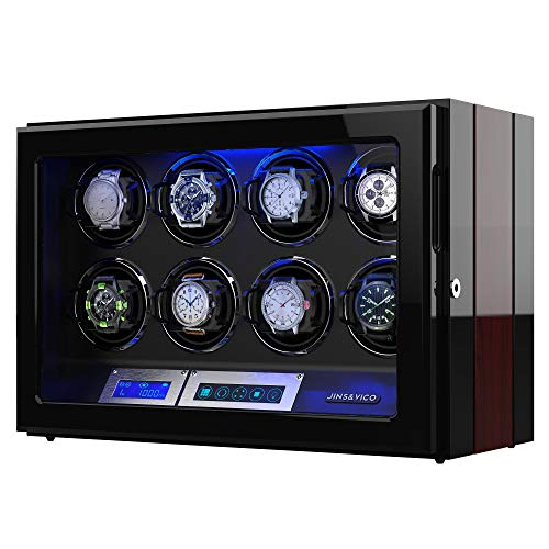 Watch Winder, Wooden Finish with Adjustable [Upgraded] Watch Pillows, 8 Winding Spaces Watch Winders for Automatic Watches, Built-in Illumination