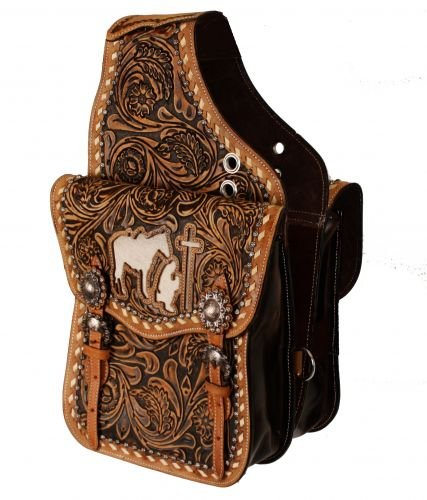 (Showman Floral Tooled Leather Saddle Bag w/Cutout Praying Cowboy & Genuine Cowhide Inlay! NEW HORSE TACK!)