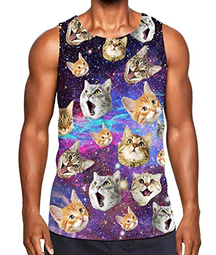 Alistyle Mens Star Cat Tank Tops Sleeveless Athletic Training Workout Vest Tees for Beach Holiday XL Cat Mens Tank Top
