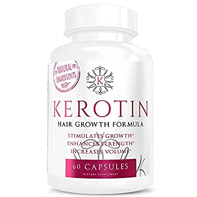 Kerotin Hair Growth Vitamins for Natural Longer, Stronger Hair - Enriched with Vitamin B, Biotin, & Folic Acid